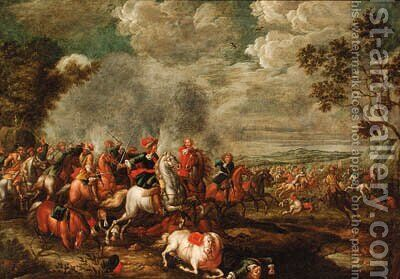 A cavalry battle by (after) Jan Peeter Verdussen - Reproduction Oil Painting