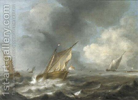 Shipping off a coast with a storm approaching by (after) Jan Porcellis - Reproduction Oil Painting