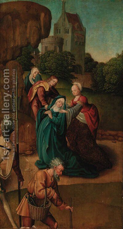 The Madonna swooning at the foot of the Cross with the three Marees by (after) Jan Provost - Reproduction Oil Painting