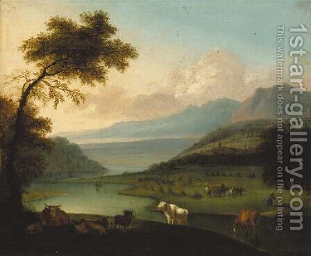 Cattle in an extensive river landscape, harvesters beyond by (after) Jan Siberechts - Reproduction Oil Painting