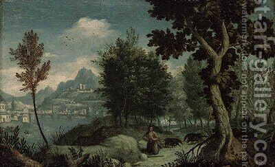 A mountainous River Landscape with the Prodigal Son, a view of Verona beyond by (after) Jan Soens - Reproduction Oil Painting