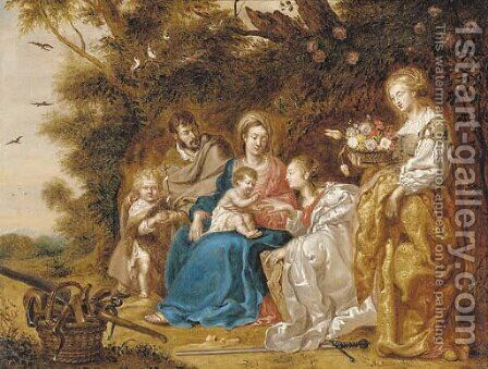 The Mystic Marriage of Saint Catherine of Alexandria, with Saint Joseph, Saint Dorothea and the Infant Saint John the Baptist by (after) Jan Van Balen - Reproduction Oil Painting