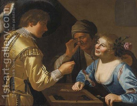 A young gallant and a courtesan playing tric-trac watched by a procuress by (after) Jan Van Bijlert - Reproduction Oil Painting