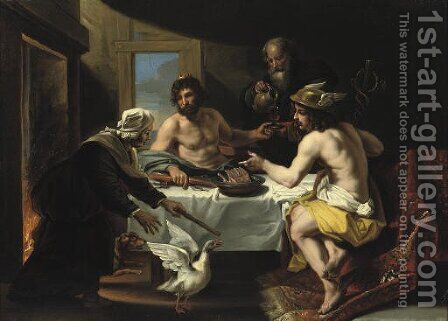 The peasants Philemon and Baucis visited by Jupiter and Mercurius by (after) Jan Van Den Hoecke - Reproduction Oil Painting