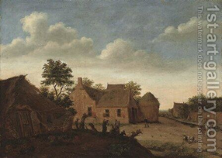 Figures on horseback on a track by a village by (after) Jan Van Der Heyden - Reproduction Oil Painting