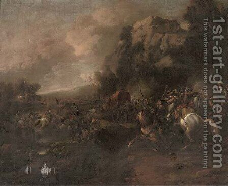 A cavalry skirmish by (attr.to) Huchtenburg, Jan van - Reproduction Oil Painting