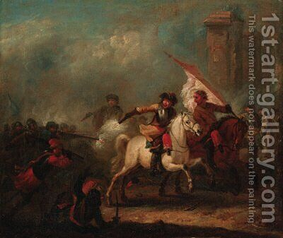 A cavalry skirmish by (after) Jan Van Hutchenburg - Reproduction Oil Painting