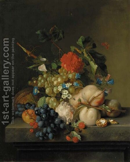 Grapes on the vine, peaches, a melon, redcurrants, a split walnut, with Morning Glory, other flowers and a butterfly on a marble plinth by (after) Huysum, Jan van - Reproduction Oil Painting