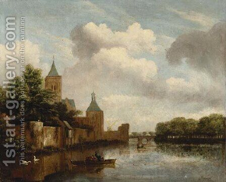 Fishermen in a punt outside the walls of Amsterdam by (attr. to) Kessel, Jan van - Reproduction Oil Painting
