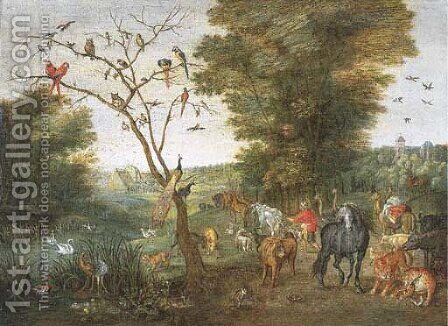 Noah herding animals towards the Ark by (attr. to) Kessel, Jan van - Reproduction Oil Painting
