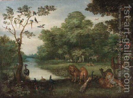 The Garden of Eden by (attr. to) Kessel, Jan van - Reproduction Oil Painting