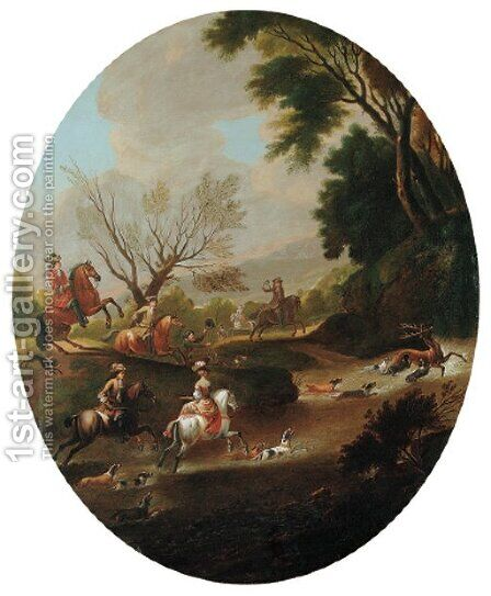 A stag hunt in a wooded river landscape by (after) Jan Wyck - Reproduction Oil Painting