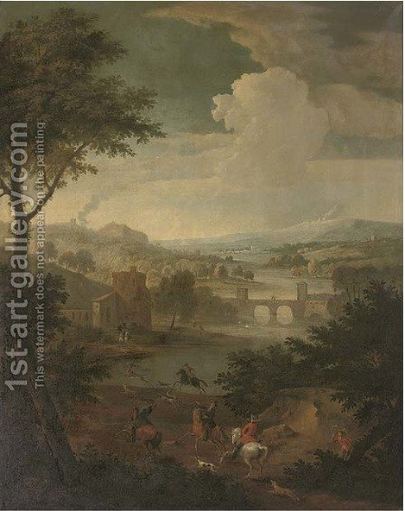 An extensive wooded river landscape with a stag hunt, a bridge beyond by (after) Jan Wyck - Reproduction Oil Painting