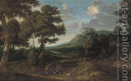 Huntsmen and their hounds on a path in a wooded landscape by (after) Jan Wyck - Reproduction Oil Painting