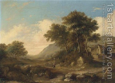 Figures on a path leading to an inn by (after) Jane Nasmyth - Reproduction Oil Painting