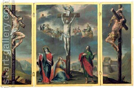 A Crucifixion by (after) Januarius Zick - Reproduction Oil Painting