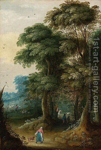 A wooded landscape with a traveller on a horse; and Peasants in a wooded landscape by (after) Jasper Van Der Laanen - Reproduction Oil Painting