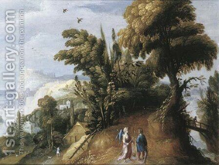 An extensive landscape with Tobias and the Angel by (after) Jasper Van Der Lamen - Reproduction Oil Painting
