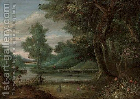 A wooded river landscape with a traveller on a path by (after) Jasper Van Der Lanen - Reproduction Oil Painting