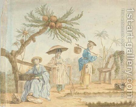 Three women in oriental costume beneath an exotic tree by (after) Jean Baptiste Leprince - Reproduction Oil Painting