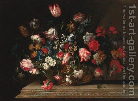 Flowers by (after) Jean Baptiste Belin De Fontenay - Reproduction Oil Painting