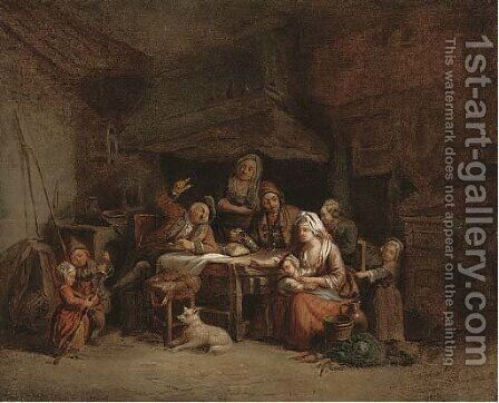 A family around a kitchen table by (after) Greuze, Jean Baptiste - Reproduction Oil Painting