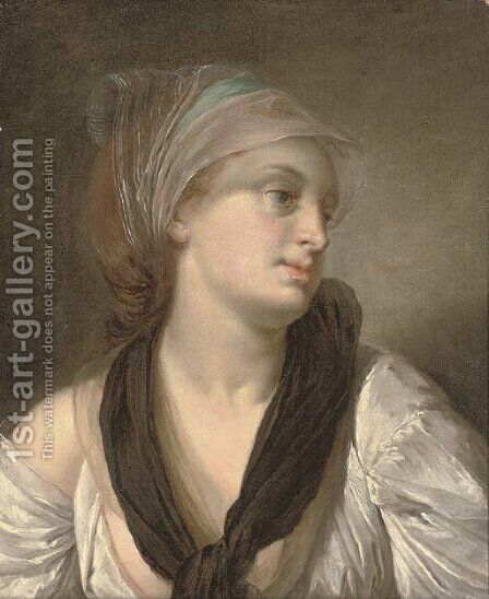 Portrait of a lady, bust-length, in a white dress and black shawl, a blue and white scarf in her hair by (after) Greuze, Jean Baptiste - Reproduction Oil Painting