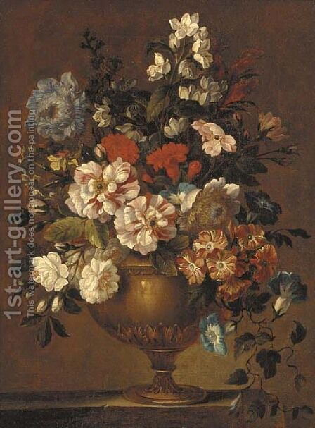Roses, bluebells, carnations and other flowers, in a sculpted urn, on a stone ledge by (after) Jean-Baptiste Monnoyer - Reproduction Oil Painting