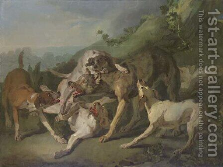 Dogs attacking a wolf in a landscape by (after) Jean-Baptiste Oudry - Reproduction Oil Painting