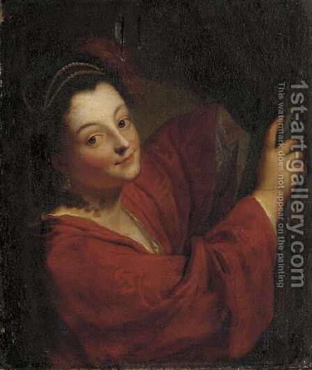 A young lady at a curtain by (after) Jean-Baptiste Santerre - Reproduction Oil Painting