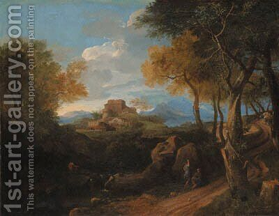 An extensive wooded landscape with figures on a path, a borgo beyond by (after) Jean-Francois Millet - Reproduction Oil Painting
