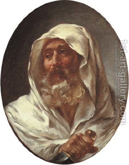 Head of a bearded man in a white cloak holding a dagger by (after) Fragonard, Jean-Honore - Reproduction Oil Painting