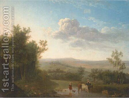 An extensive landscape with cattle and two women crossing a ford, a shepherd and flock by a tree by (after) Jean-Louis Demarne, Called Demarnette - Reproduction Oil Painting