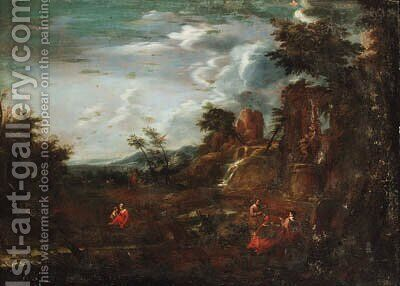 An Italianate landscape with artists sketching amongst ruins by (after) Joachim Franz Beich - Reproduction Oil Painting