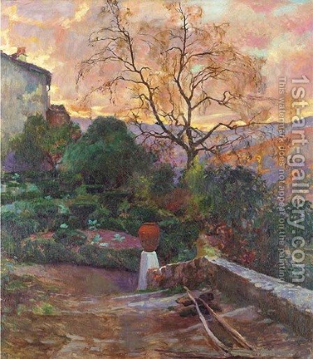The gardens of a Spanish farmhouse by (after) Joaquin Sorolla Y Bastida - Reproduction Oil Painting