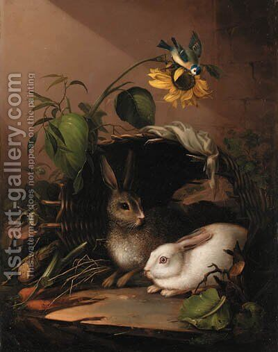 Two rabbits in an upturned basket with a blue tit on a sunflower by (after) Johann Amandus Winck - Reproduction Oil Painting