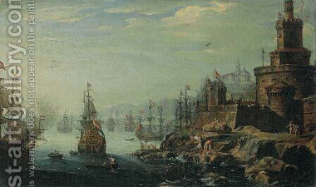 A capriccio of a port with a fortress and figures in the foreground by (after) Johann Anton Eismann - Reproduction Oil Painting