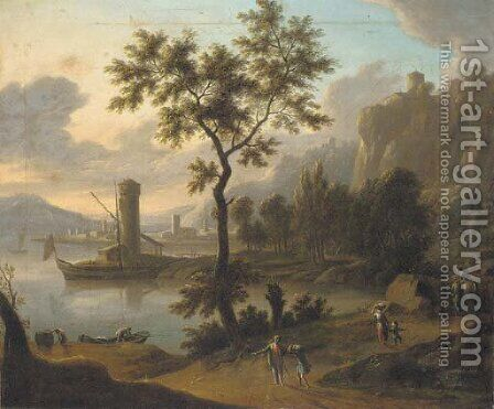 A coastal landscape with travellers on a path by (after) Johann Christian Vollerdt Or Vollaert - Reproduction Oil Painting