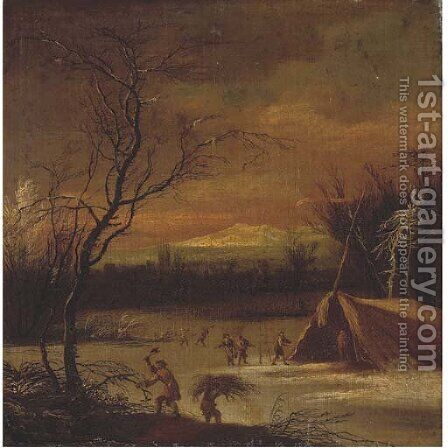 A mountainous river winter landscape with faggot-gatherers, a town beyond by (after) Johann Christian Vollerdt Or Vollaert - Reproduction Oil Painting