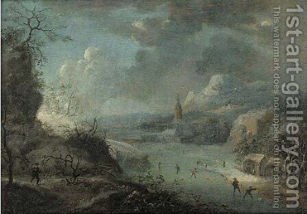 A mountainous winter landscape with skaters on a frozen river, a church beyond by (after) Johann Christian Vollerdt Or Vollaert - Reproduction Oil Painting