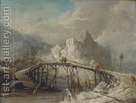 A winter landscape with travellers crossing a bridge by (after) Johann Christian Vollerdt Or Vollaert - Reproduction Oil Painting
