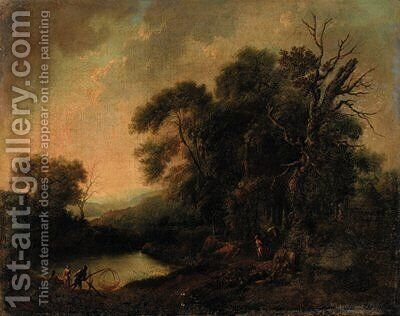 A wooded river landscape with fisherfolk on a bank by (after) Johann Christian Vollerdt Or Vollaert - Reproduction Oil Painting