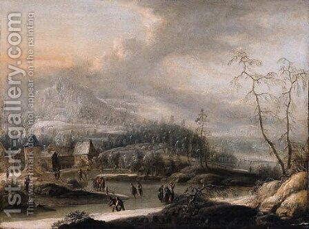 Peasants and skaters on a frozen waterway in a mountainous landscape by (after) Johann Christian Vollerdt Or Vollaert - Reproduction Oil Painting