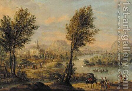 Travellers in a Rhenish landscape by (after) Johann Christian Vollerdt Or Vollaert - Reproduction Oil Painting