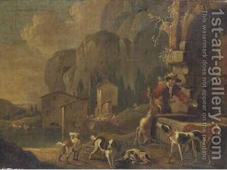 A hunter at a fountain in a landscape by (after) Johann Heinrich Roos - Reproduction Oil Painting
