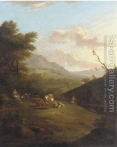 A mountainous landscape with peasants herding a cattle and a village beyond by (after) Johann Heinrich Roos - Reproduction Oil Painting