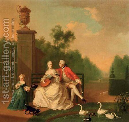 An elegant couple on a bench by a pond with swans and ducks, a girl by their side, in a park landscape by (after) Johann Heinrich The Elder Tischbein - Reproduction Oil Painting