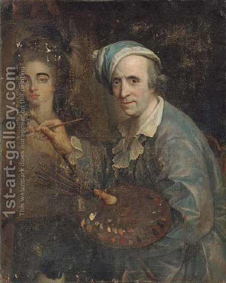 Self-portrait of an artist painting a female portrait by (after) Johann Heinrich The Elder Tischbein - Reproduction Oil Painting