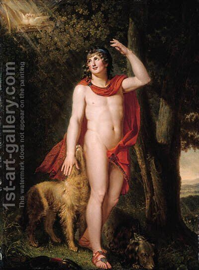 Apollo with two hunting dogs by (after) Johann Heinrich The Younger Tischbein - Reproduction Oil Painting
