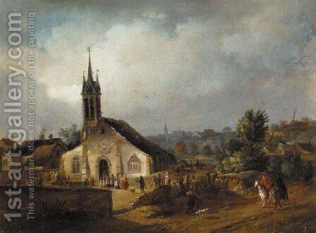 A country church with villagers and horsemen on a nearby track by (after) Johann-Christian Brand - Reproduction Oil Painting
